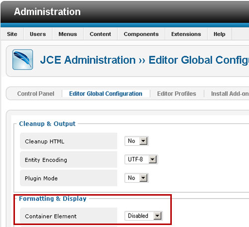 JCE Administration setting