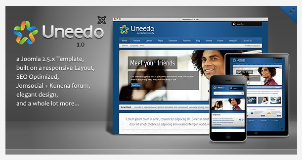 Social Template Uneedo is ThemeForest's Latest Responsive Joomla Offering